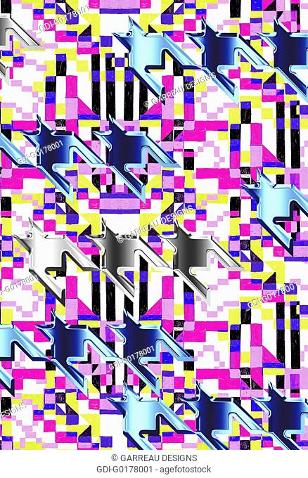 Metallic houndstooth over neon pink and yellow background