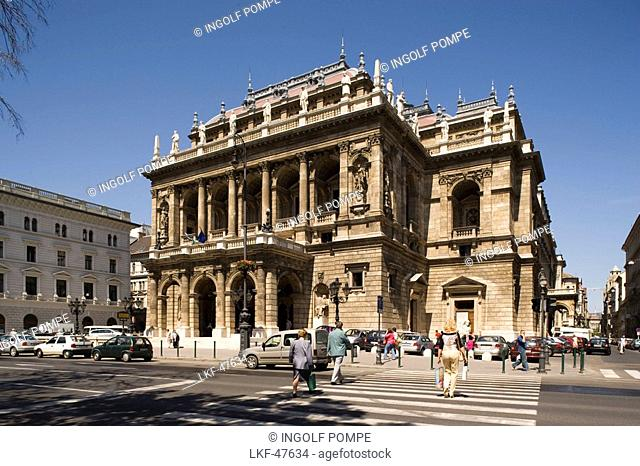 Hungarian State Opera House, View to the Hungarian State Opera at Andrassy Street, Pest, Budapest, Hungary