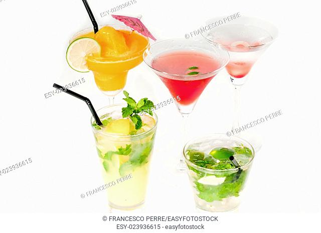 group of classic colorful cocktails drink isolated on white background