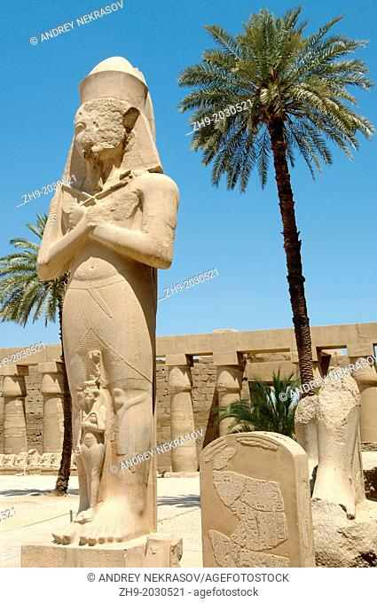 Statue of Ramses II with his daughter Meritamen, Karnak Temple Complex, Luxor (Thebes), Egypt, Africa.	1015