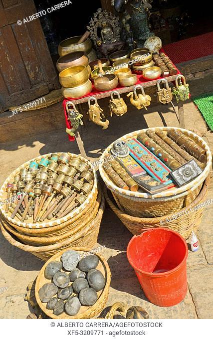 Souvenirs Shop, Swayambhunath Temple, Monkey Temple, UNESCO World Heritage Siite, Kathmandu, Nepal, Asia