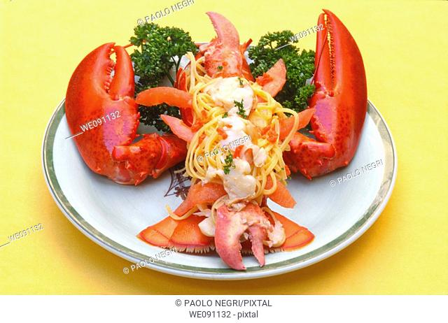 Lobster with tagliatelle, overhead view