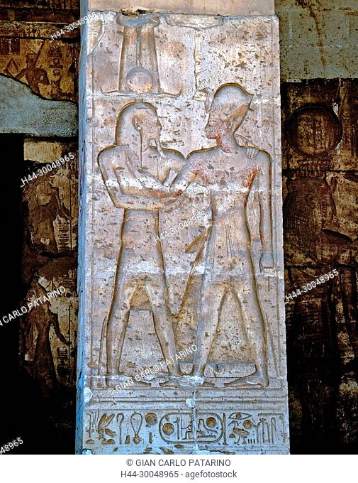 Abydos,Egypt, the mortuary temple of pharaoh Seti I. View of a carved column in the courtyard