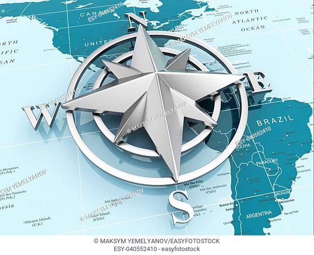 Navigation sign or compass on political map. 3d