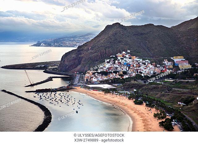 Playa de las Teresitas and San Andres village, Tenerife island, Canary archipelago, Spain, Europe