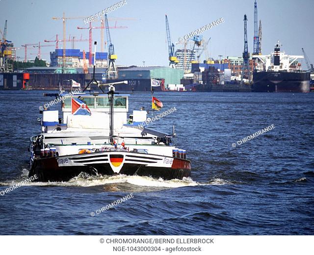 Barge at Hamburg Harbour
