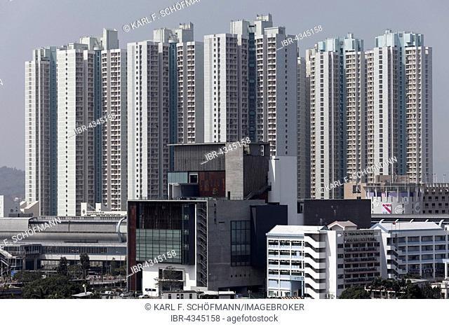 Development area with high-rise residential building Tin Wai New Town Shue, social housing, Yuen Long District, New Territories, Hong Kong, China
