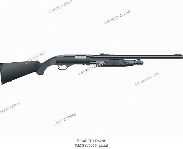 A picture of a shotgun on a white background