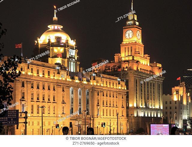 China, Shanghai, The Bund, HSBC Building, Customs House, historic architecture,