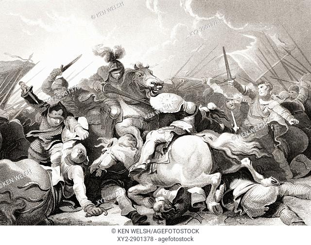The Battle of Bosworth Field, August 22, 1485. From The National and Domestic History of England by William Aubrey published London circa 1890