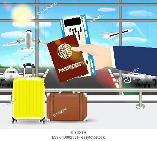 hand hold passport and boarding pass in airport