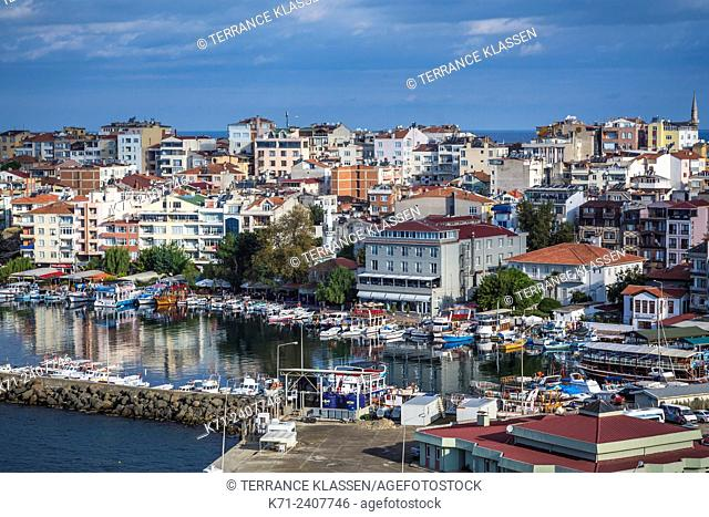 A view of the harbor in the Black Sea port city of Sinop, Turkey