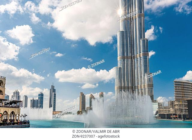 Dubai, United Arab Emirates - Dec 2, 2014 :View of the Burj Khalifa and fountains on the Burj Khalifa Lake. The tallest building in the world, at 828m