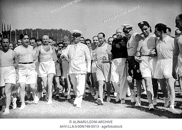 Benito Mussolini and Achille Starace (CONI president 1933-1939) photographed during a sporting event at the stadium dei Marmi at the Foro Italico