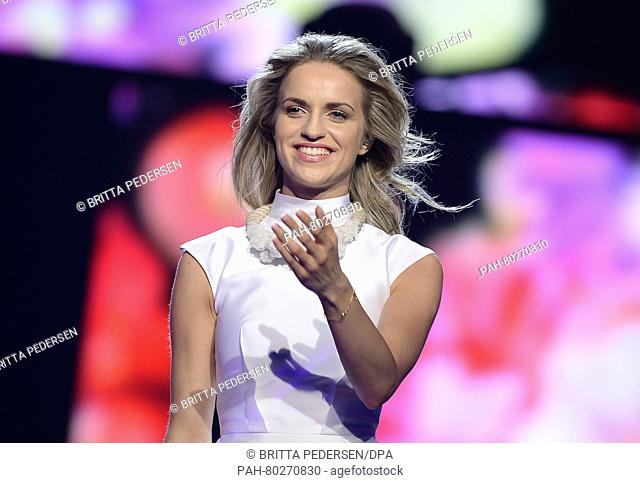 Gabriela Guncikova of the Czech Republic performs the song 'I Stand' during rehearsals for the first semifinal of the 61st annual Eurovision Song Contest (ESC)...