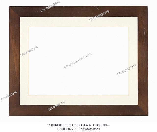 Empty picture frame, distressed dark wood, with mount