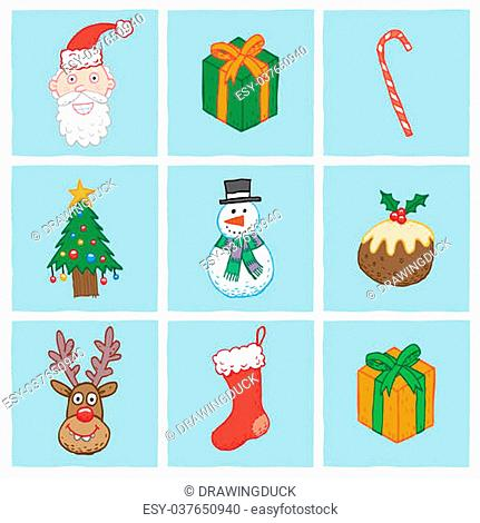 Various Christmas icons including Santa, Gifts, Candy Cane, Christmas Tree, Snowman, Christmas Pudding, Reindeer and Stocking