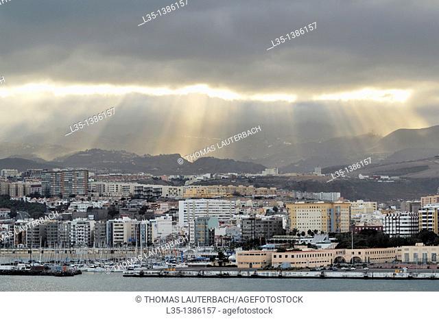 Viewed from the sea side, dramatic clouds, Las Palmas de Gran Canaria, Gran Canaria, Canary Islands, Spain
