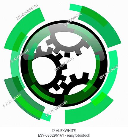 gear icon, green modern design glossy round button, web and mobile app design illustration