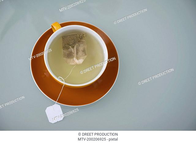 Overhead view of herbal tea with teabag, Munich, Bavaria, Germany