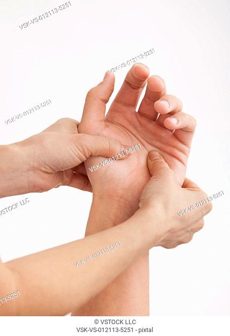 Hand massage, close-up