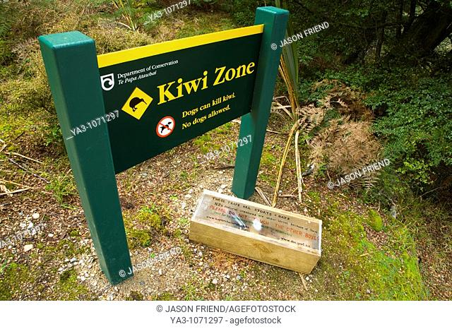 New Zealand, Southland, Fiordland National Park  Kiwi Zone sign on the Kepler Great Walk near Lake Manapouri