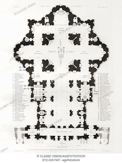 Ground plan of St. Peterâ. . s basilica, the Vatican, Rome, Italy. After a 19th century engraving