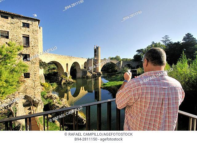 Medieval Bridge (11th Century), in Besalu, a medieval village declarated Historical-Artistic Site, ubicated in La Garrotxa, Girona province