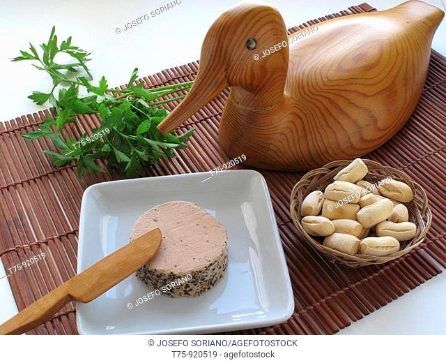 Duck pate with pepper and herbs