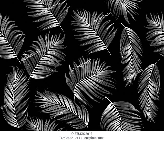 Seamless pattern of tropical leaves palm tree