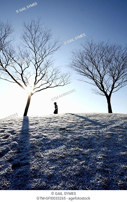 Boy playing on a frosty hill between two trees