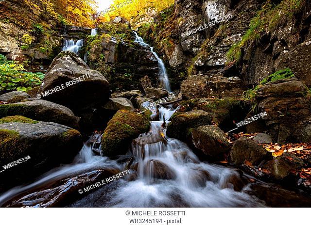Autumn at the Dardagna waterfalls, Tosco Emiliano Apennines, Apuan Alps, Lizzano in Belvedere, Emilia Romagna, Italy, Europe