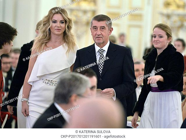 Andrej Babis, Czech finance minister and chairman of the political part ANO with his wife Monika, left, attend a charity ball which Czech President Milos Zeman...