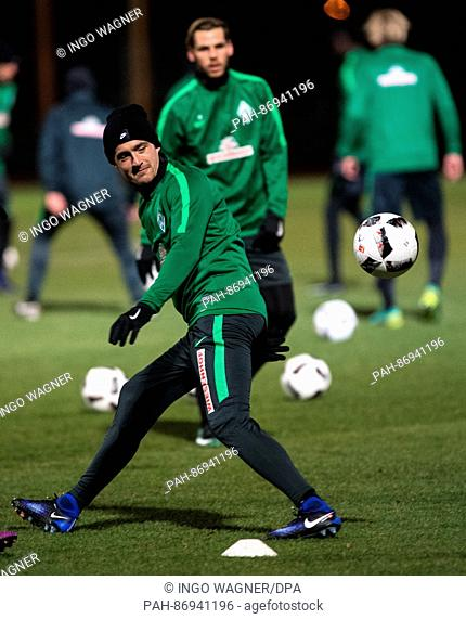 New team member Thomas Delaney of the Bundesliga soccer club Werder Bremen in action during the first training session for the second half of the season in...