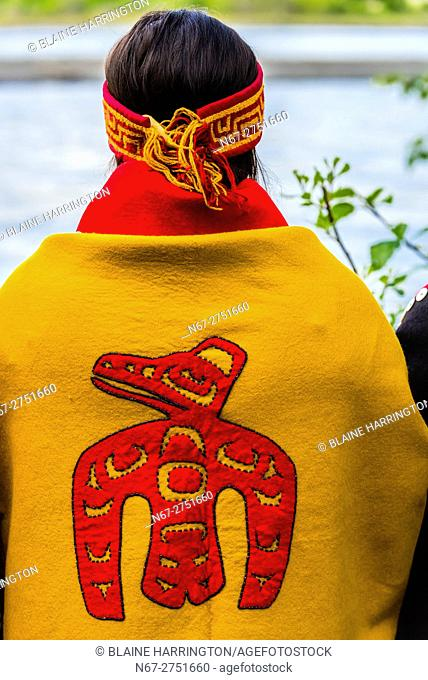 Tlingit Indians wearing theri regalia, Chilkat Indian village, Klukwan, near Haines, Alaska USA
