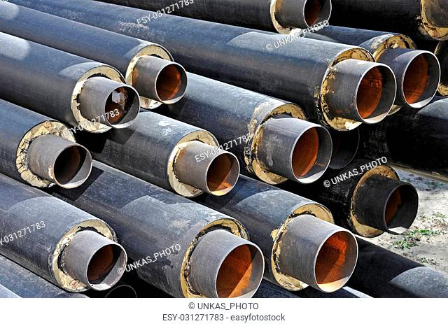 Steel pipe with heat insulation on construction site