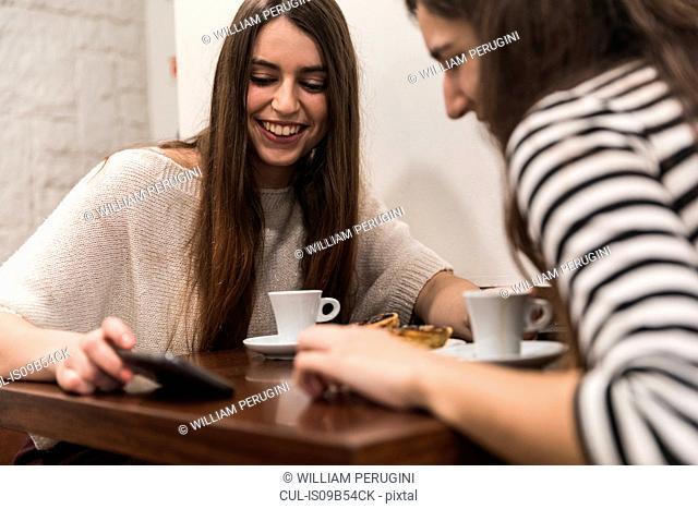 Friends at table in coffee shop