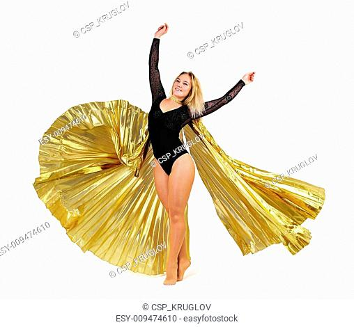 Dancer with golden wings on a white background