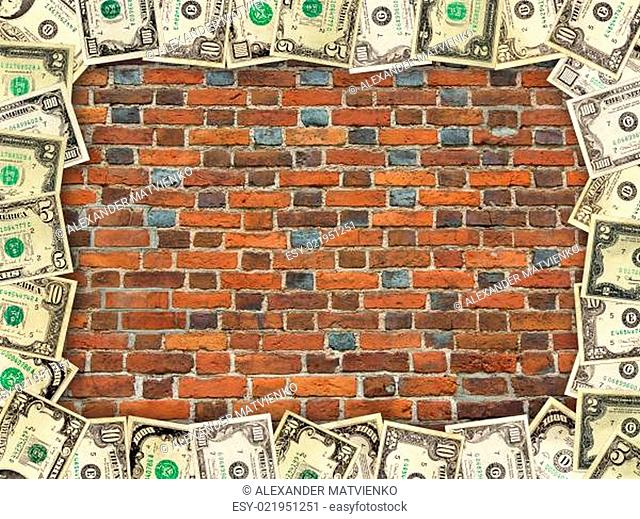 wall from the red brick and dollar frame