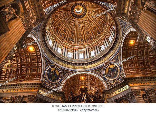 Vatican Inside Ceiling Michaelangelo's Dome Overview