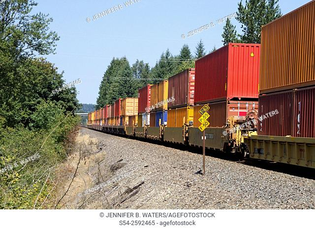 Colorful containers on a Union Pacific stack train near Olympia, Washington, USA