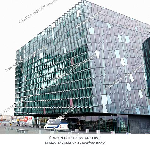 Photograph of the exterior of the Harpa concert hall and conference centre in Reykjavik, Iceland. Dated 21st Century