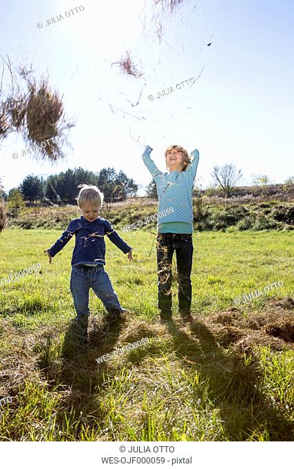 Two children throwing straw up in the air
