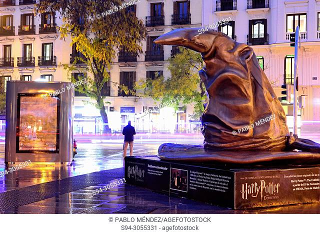 The Sorting Hat of Harry Potter sculpture in Madrid, Spain