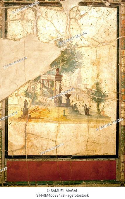Italy, Naples, Naples Museum, Boscotrecase, Villa of Agrippa Postumo 16, Wall and Landscape- Sacral