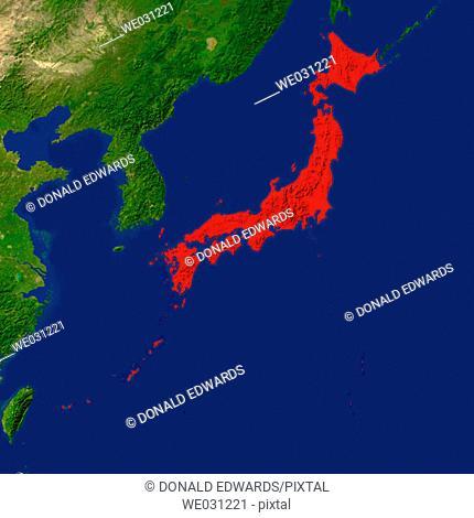 Highlighted satellite image of Japan