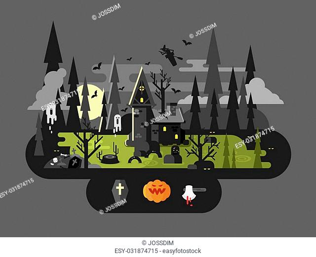 Halloween house at night. Horror monster, ax and witch, flat vector illustration