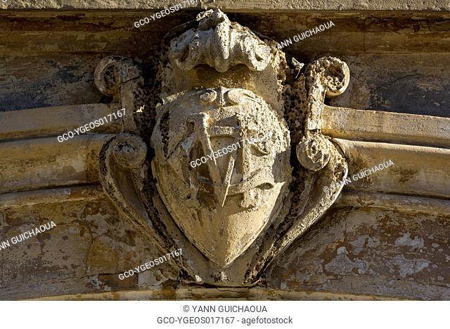 Old facade,rue de la Republique, Aigues Mortes, Gard,France