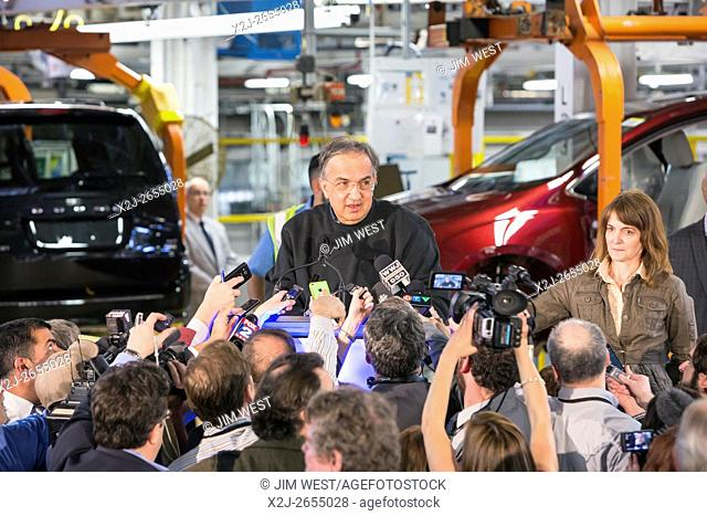 Windsor, Ontario Canada - Fiat Chrysler Automobiles CEO Sergio Marchionne talks with reporters at the company's Windsor Assembly Plant