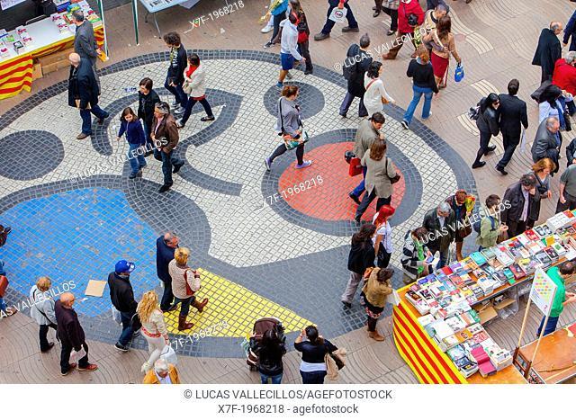 La Rambla,Sant Jordi's Day (April 23rd) ,Barcelona, Catalonia,Spain